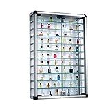 Pureday Sammelvitrine aus Aluminium und Glas abschließbar 60 x 89 cm
