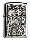 Zippo 2004497 Gear Wheels Feuerzeug, Messing, Edelstahloptik, 1 x 3,5 x 5,5 cm
