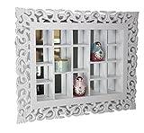 elbmöbel Gitter-Spiegel antik weiß, Landhaus Wandspiegel Setzkasten Regal, handgefertigte Verzierungen, Sammlervitrine aus Holz