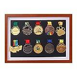 xj Medaillenhalter,Race Bib Medaillen-Display Vitrine mit Holzrahmen,Medaillenrahmen für oder Laufmedaillen Kriegsmedaille Holz-Vitrine für Vitrine für Orden und Ehrenzeichen(10 Medaille )